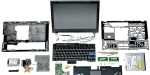 Exploded view of a Thinkpad X300, thanks to http://www.businessweek.com/magazine/content/08_08/b4072042350389.htm