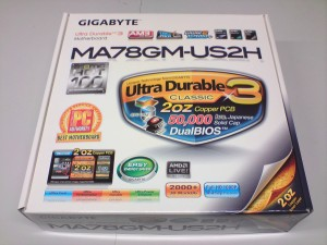 Gigabyte MA78GM-US2H motherboard box.
