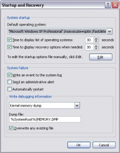 Startup options in Windows XP.