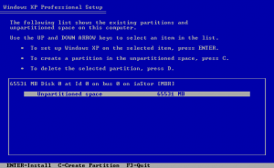 XP is ready to install to the newly detected disk.