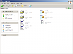 F6 storage drivers on a floppy disk.